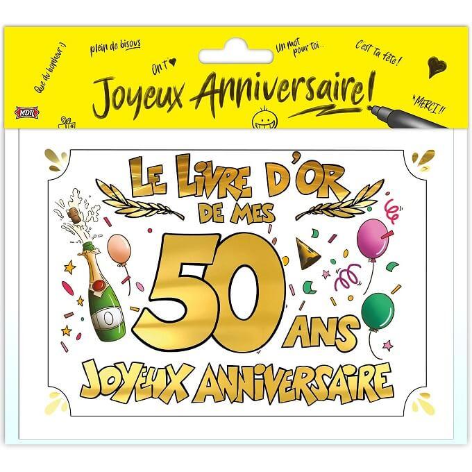 Livre d or anniversaire 50 ans or multicolore