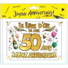 Livre d'or anniversaire 50ans or multicolore (x1) REF/LDOR05