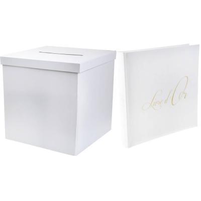 1 Pack fête urne et livre d'or blanc et or REF/2911-70085