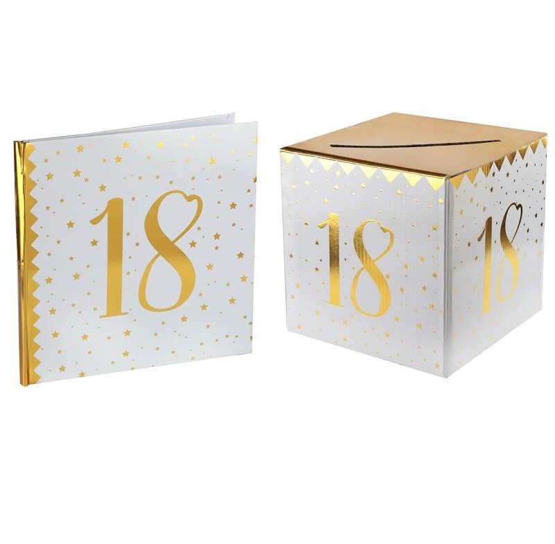 Livre d or avec urne anniversaire blanc et or 18ans