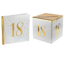 1 Pack urne et livre d'or anniversaire or et blanc 18ans REF/6186-6185