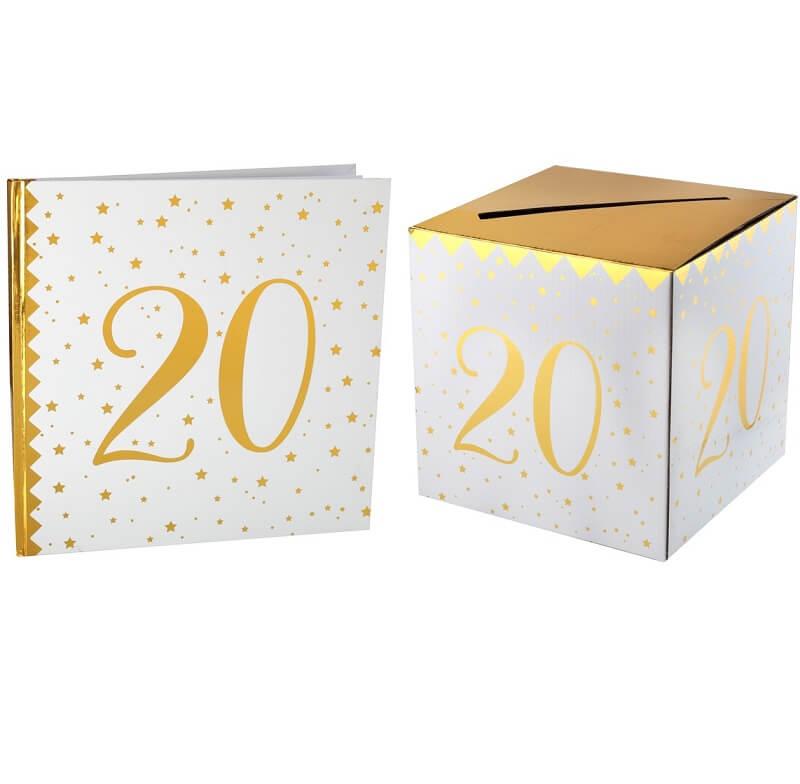 Livre d or avec urne anniversaire blanc et or 20ans