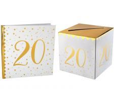 1 Pack urne et livre d'or anniversaire or et blanc 20ans REF/6186-6185