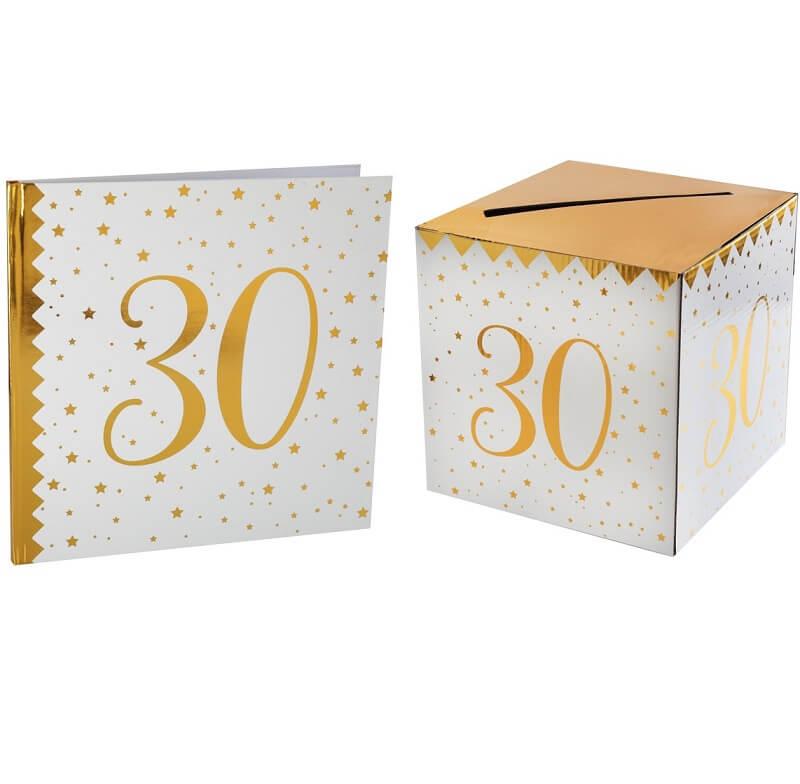 Livre d or avec urne anniversaire blanc et or 30ans