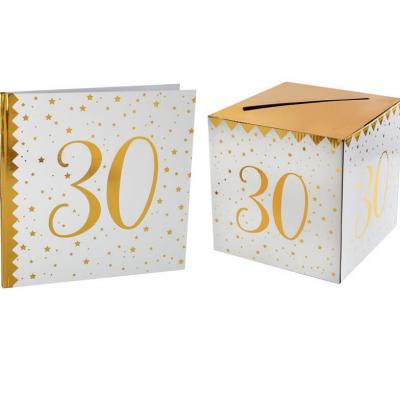1 Pack urne et livre d'or anniversaire or et blanc 30ans REF/6186-6185