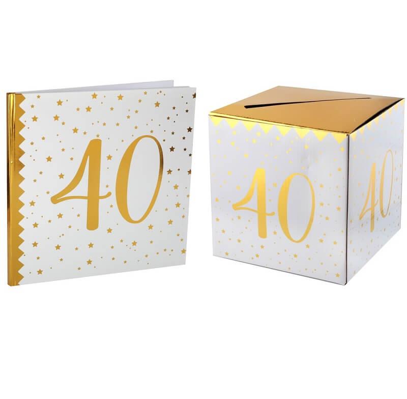 Livre d or avec urne anniversaire blanc et or 40ans