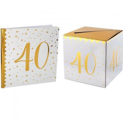 1 Pack urne et livre d'or anniversaire or et blanc 40ans REF/6186-6185