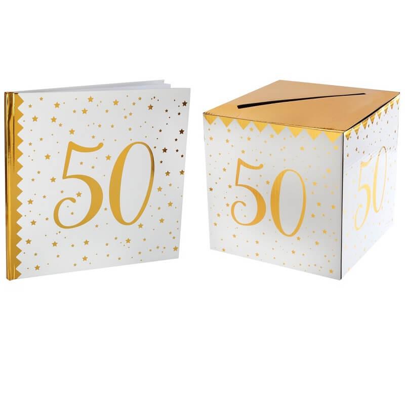 Livre d or avec urne anniversaire blanc et or 50ans
