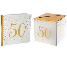 1 Pack urne et livre d'or anniversaire or et blanc 50ans REF/6186-6185