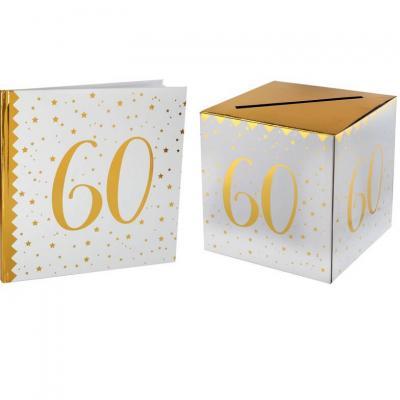 1 Pack urne et livre d'or anniversaire or et blanc 60ans REF/6186-6185