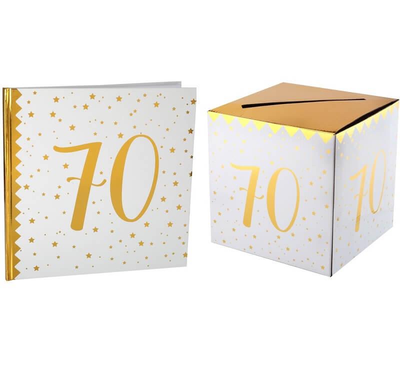 Livre d or avec urne anniversaire blanc et or 70ans