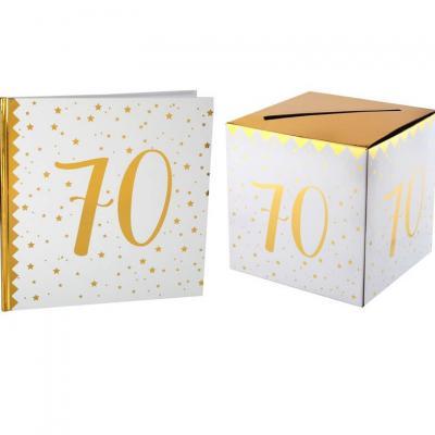 1 Pack urne et livre d'or anniversaire or et blanc 70ans REF/6186-6185