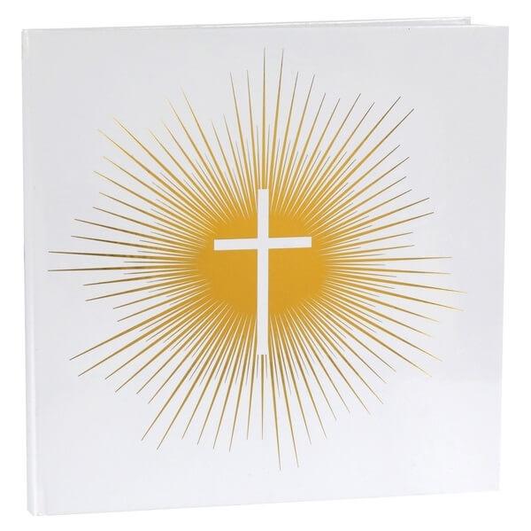 Livre d or communion blanc et or avec croix