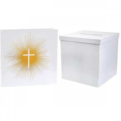 1 Pack duo festif avec livre d'or Communion et tirelire carrée REF/6848-2911