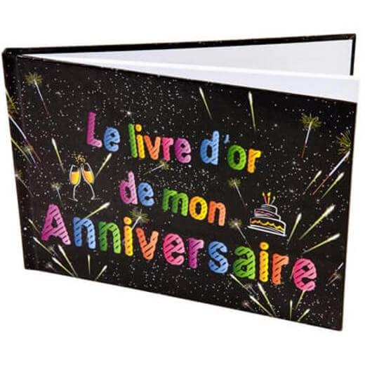 Livre d or elegant joyeux anniversaire noir multicolore