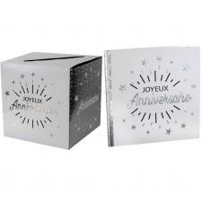 1 Pack urne et livre d'or joyeux anniversaire blanc et argent REF/6651-6652