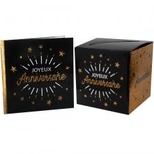 1 Pack urne et livre d'or joyeux anniversaire noir et or REF/6651-6652