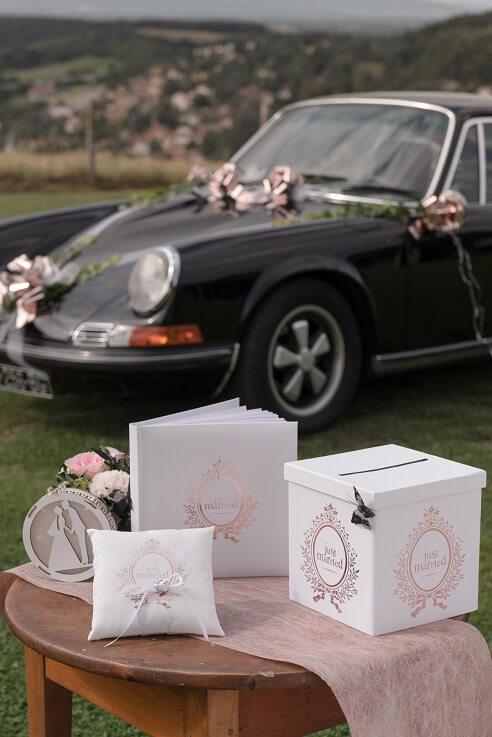 Livre d or et tirelire urne mariage just married rose gold et blanc