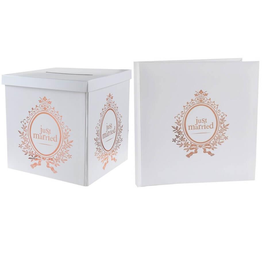 Livre d or et tirelire urne mariage just married rose gold