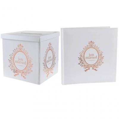 Livre d'or et tirelire urne mariage Just Married blanc et rose gold (x1) REF/6906-6907