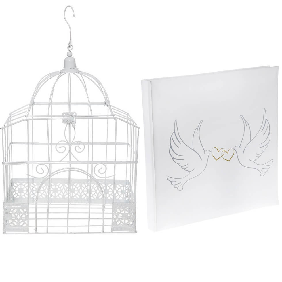 Livre d or et urne mariage cage colombes blanche