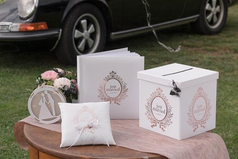 Livre d or et urne tirelire mariage just married rose gold