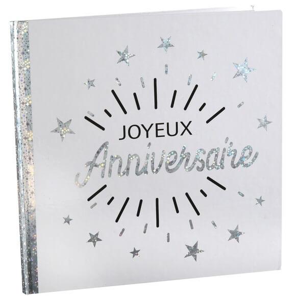 Livre d or joyeux anniversaire blanc et argent metallique