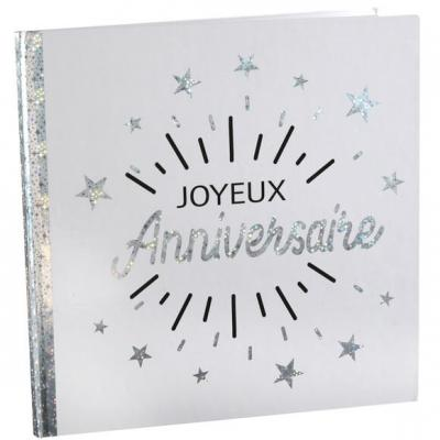 Livre d'or joyeux anniversaire blanc et argent métallique (x1) REF/6651