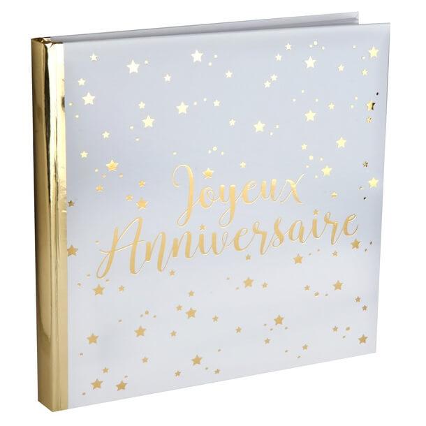 Livre d or joyeux anniversaire blanc et or 1