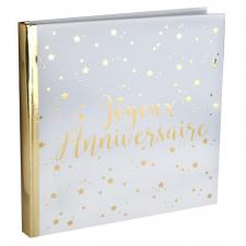 Livre d'or joyeux anniversaire blanc et or métallique (x1) REF/5664