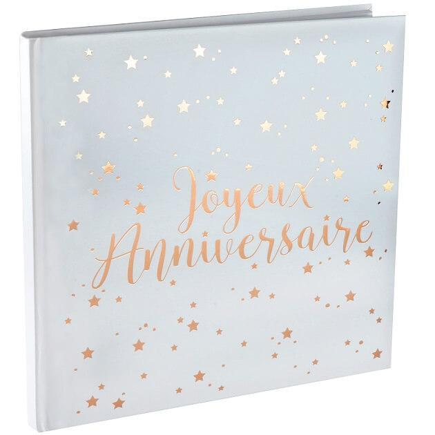Livre d or joyeux anniversaire blanc et rose gold