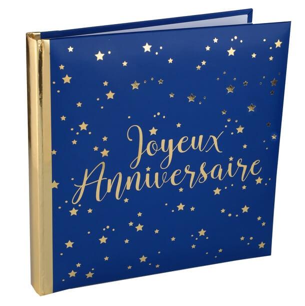 Livre d or joyeux anniversaire bleu et or