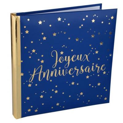 Livre d'or joyeux anniversaire bleu marine et or métallique (x1) REF/5664