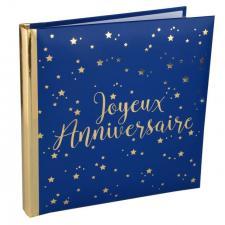 Livre d'or anniversaire bleu et or (x1) REF/5664