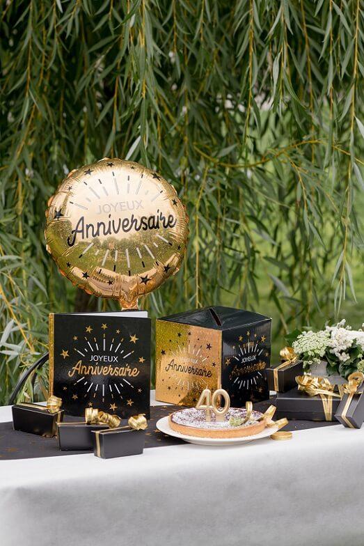 Livre d or joyeux anniversaire noir et dore metallise
