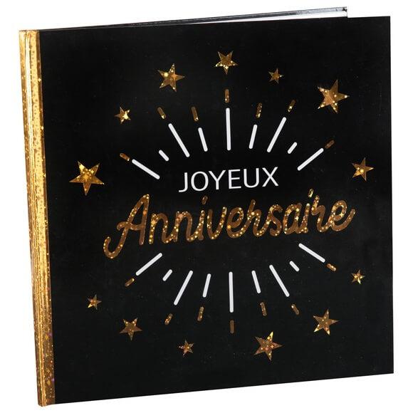 Livre d or joyeux anniversaire noir et or metallique