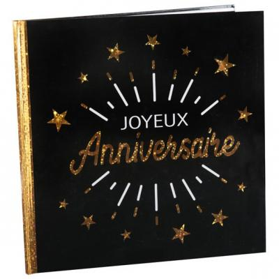Livre d'or joyeux anniversaire noir et or métallique (x1) REF/6651
