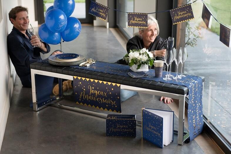Livre d or joyeux anniversaire or et bleu