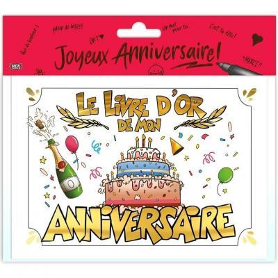 Livre d'or joyeux anniversaire or multicolore (x1) REF/LDOR00