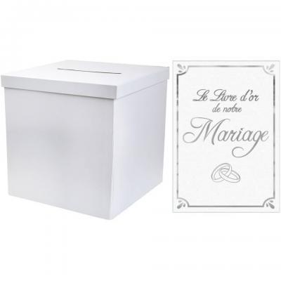 1 Pack urne carrée et livre d'or mariage blanc et argent REF/2911-LDORM