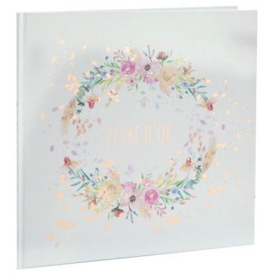Livre d'or mariage élégant fleuri Champêtre blanc et multicolore (x1) REF/7391