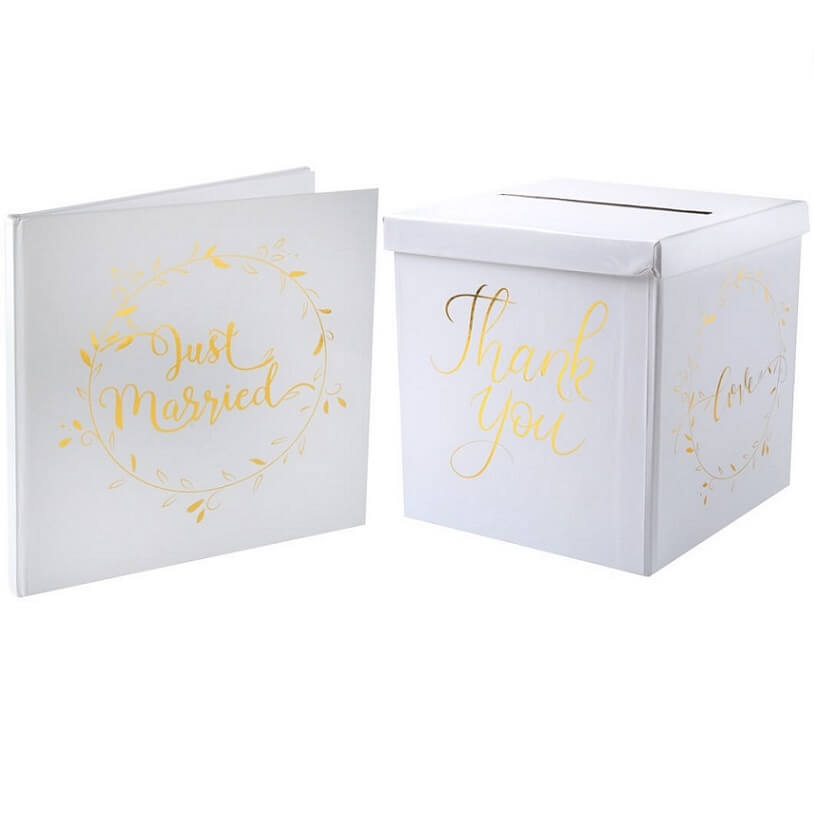 Livre d or mariage just married blanc et or 1