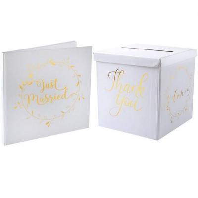 1 Pack Tirelire et livre d'or mariage blanc et or REF/6327-6325