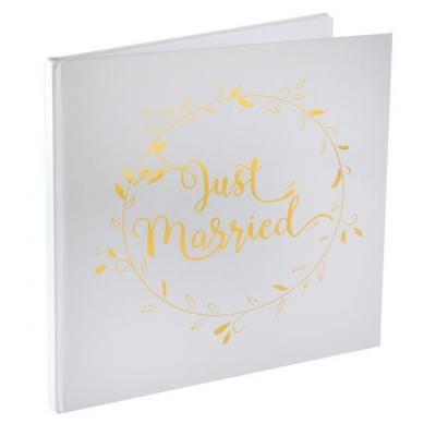 Livre d'or mariage Just Married blanc et or (x1) REF/6325