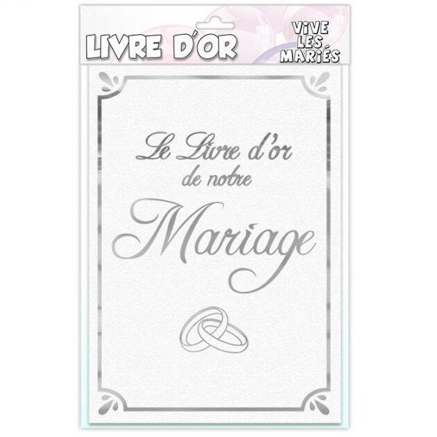 Livre d or mariage vive les maries blanc et argent