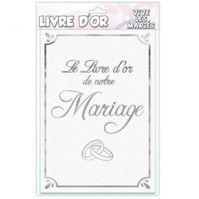 Livre d'or mariage alliances blanc et argent (x1) REF/LDORM