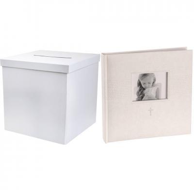 R/6621-2911 - 1 Tirelire carrée et livre d'or photo blanc