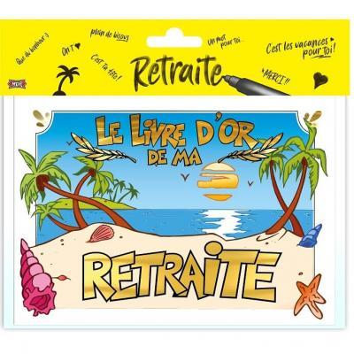 Livre d'or motif vive la retraite or multicolore (x1) REF/LDOR07