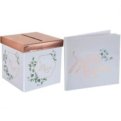 1 Tirelire urne et 1 Livre d'or Bucolique mariage Champêtre REF/7291-7290