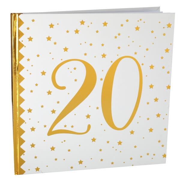 Livre dor anniversaire 20ans blanc et or